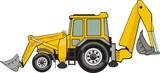 building excavatorand frontal loader on a wheel base