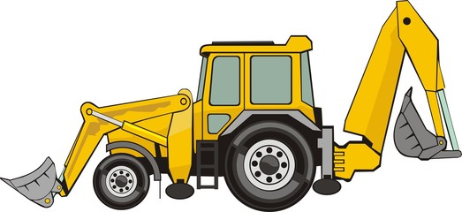 building excavatorand frontal loader on a wheel base