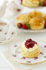 English cream tea, vertical