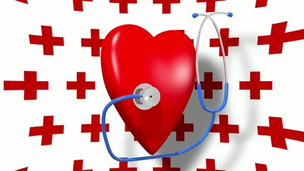 Stethoscope with pulsing heart.