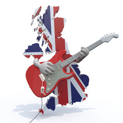 England map with arms that play electric guitar