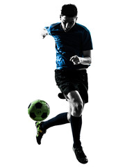 caucasian soccer player man juggling silhouette