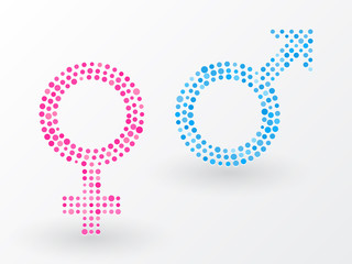 sex symbols made up of small dots
