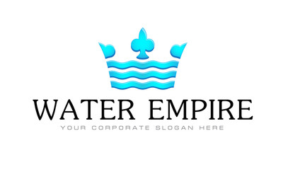 Vector logo template, water, business, crown