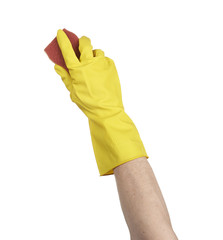 A yellow cleaning glove with a sponge