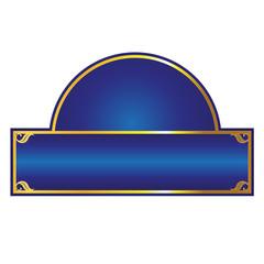 blue and gold framed label