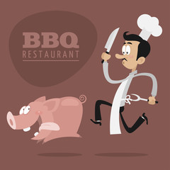 BBQ Restaurants concept chef runs pig