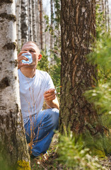 man drink birch sap