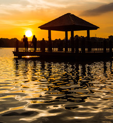Water gazebo and sunset at a lake in Putrajaya, Malaysia