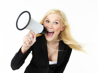 Business woman shouting loud through megaphone