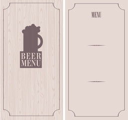 retro menu with beer mug on background of wooden boards