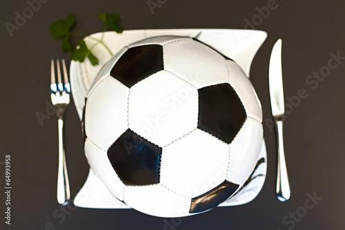 canvas print picture Es gibt Fussball zum Mittag