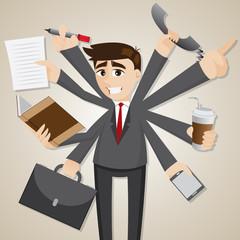 cartoon businessman multi tasking
