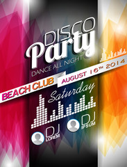 Vector Disco Party Flyer Design on abstract color background.