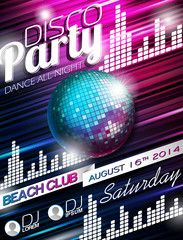 Vector Disco Party Flyer Design with disco ball