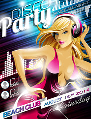 Vector Disco Party Flyer Design with sexy girl