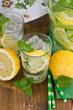 canvas print picture - Bowle mit Gurke und Zitrone