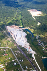 Aerial view of the quarry mining
