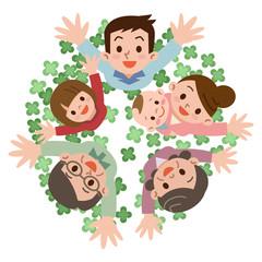 クローバーと幸せ家族