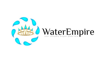 Vector logo template, royal, business, diadem, water drops