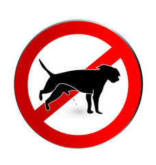 No dog pee sign logo icon vector
