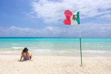 Woman and mexican flag