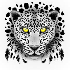 White Leopard with Yellow Eyes