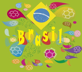 background Soccer in Brasil , with  2014