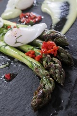 asparagus with poached quail egg starter