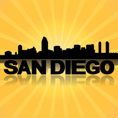 San Diego skyline reflected with sunburst illustration