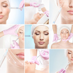 Collection of different pictures about face lifting procedure