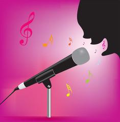 Vector illustration of karaoke singing