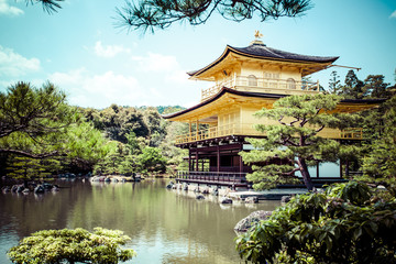 Famous Golden Pavilion in Kyoto (Japan)