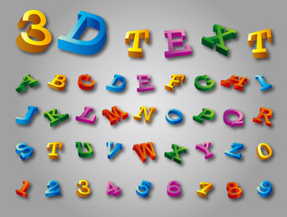 3D font, big colorful letters standing, vector
