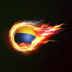 Colombia flag with flying soccer ball on fire isolated