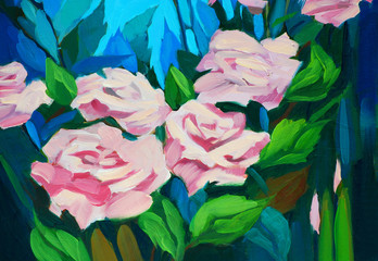bush of roses, painting by oil on a canvas, illustration