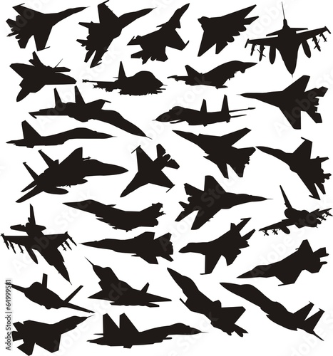 military combat airplane silhoettes set