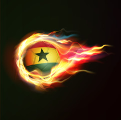 Ghana flag with flying soccer ball on fire isolated background