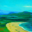 landscape with sea, beach and mountains,_painting