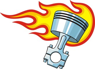 piston in flame