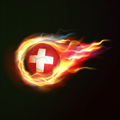 Switzerland flag with flying soccer ball on fire isolated