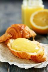 Croissant with lemon cream.