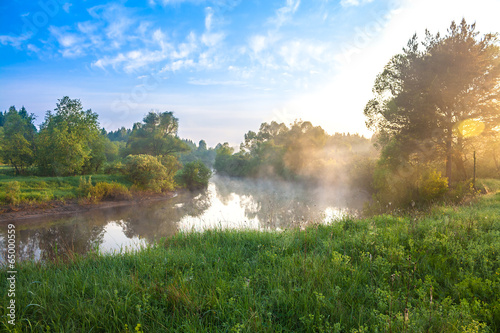 summer landscape with sunrise over the river - 65000559