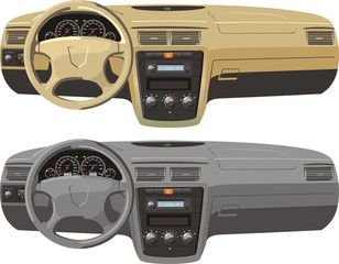 Tan and gray dash boards