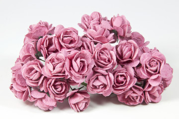 Collection of Pale Pink Artificial Paper Roses