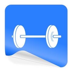 fitness blue sticker icon