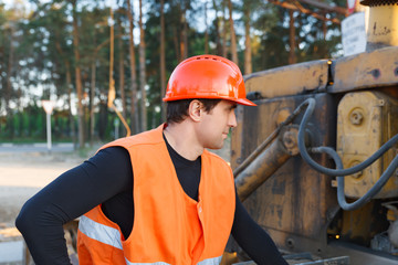 male worker in helmet