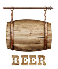 Barrel shaped wooden signboard
