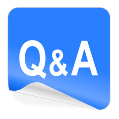 question answer blue sticker icon