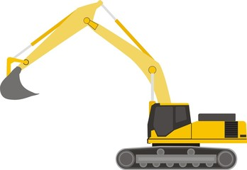 yellow consruction excavator on a caterpillar base